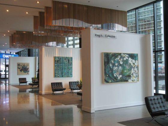 Office building as art gallery work of three chicago artists displayed at 300 s riverside plaza