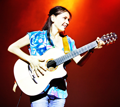 Gabriela of Rodrigo y Gabriela at the Riviera Theater