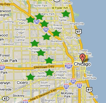 Green Star Movement Chicago map