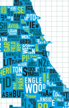 Chicago neighborhood map poster on