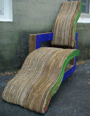 A chair made from laminates of recycled cardboard