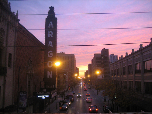 sunrise over Lawrence Avenue Chicago