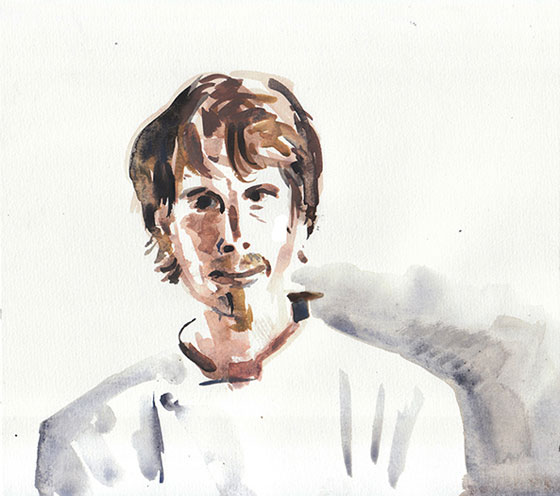 Grant Achatz - watercolor portrait by Dmitry Samarov