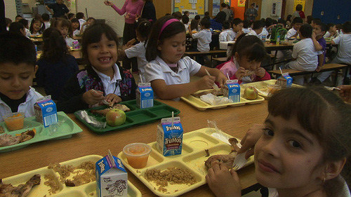 Chicago Public School students enjoying lunch