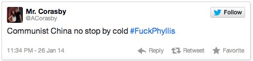 UIUC #fuckphyllis Twitter tweet