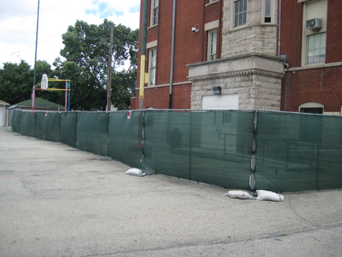Whittier Elementary School Chicago - construction fence
