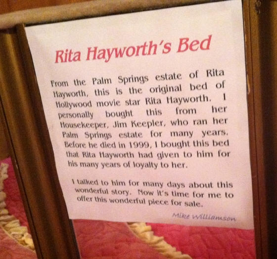 Rita Hayworth's bed