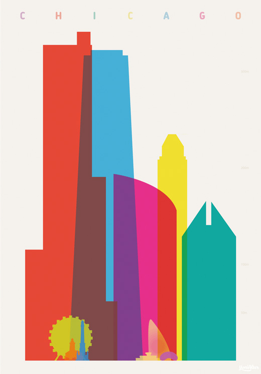 yoni alter 'shapes of cities' chicago poster