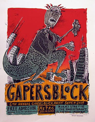 Gapers Block silkscreen poster Dan Grzeca