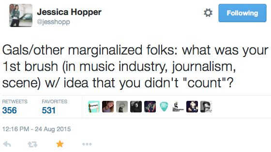 Jessica Hopper marginalized tweet